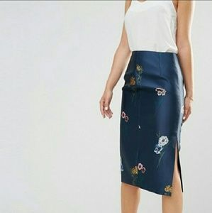 KEEPSAKE afterglow embroidered navy floral skirt